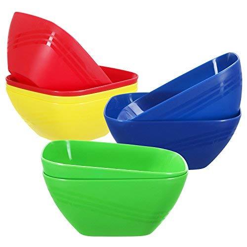 Set von 4-Kunststoff Party Servieren Schalen, quadratisch Rührschüssel, groß, für Partys, Beilagen, Gemüse, Snack und Salat, 152-ounce, 4Farben Medium Red, Green, Yellow, Blue -