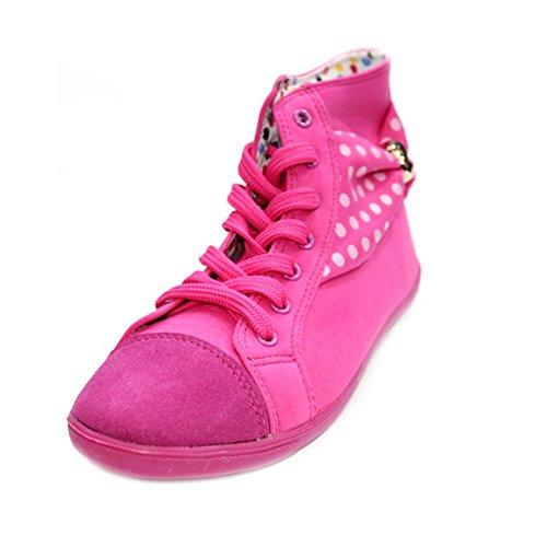 W & W femmes Mesdames Formateurs Sport dentelle plat jusqu'Pompes Chaussures fitness Walk Athlétique Sport Run Taille (Yeva) Fuchsia