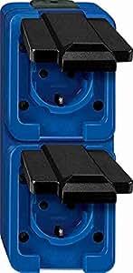 Merten 229286 SCHUKO-Doppel-Steckdose, senkrecht, blau, SCHLAGFEST