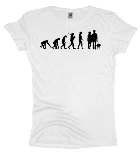 Ma2ca - Evolution - Hund - Damen Girlie T-Shirt White