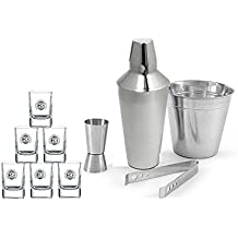 King International 100% Stainless Steel 100% Bar Set | Bar Tools | Bar Accessories Set Of 10 Pieces Includes 6 Whisky Glasses | Tong |Cocktail Shaker | Peg Measurer | Champagne Bucket |