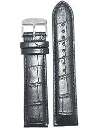 Kolet 24Mm Croco Padded Leather Watch Strap (Black)
