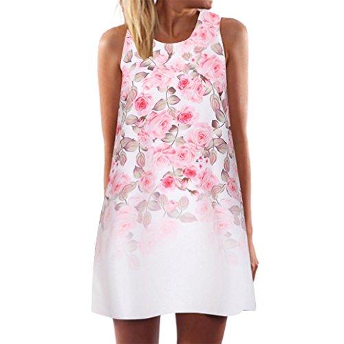SEWORLD 2018 Damen Mode Sommer Frauen Lose Vintage Beiläufig ärmellose 3D O-Ausschnitt Blumen Drucken Bohe Tank Kurze Datierung Mini Dress(A-a-Weiß,XL)