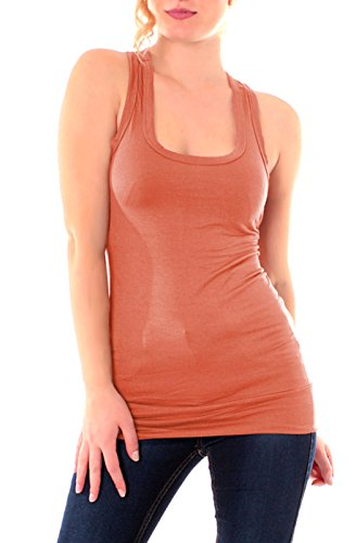 Easy Young Fashion, collezione: Basic - Canotta da donna, taglia unica Terracotta