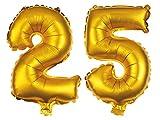 Alsino XXL Folienballons Luftballon Heliumballon Zahlenballon Ziffern 18-90 80 cm Party Geburtstag Hochzeit, Variante wählen:25, Variante wählen:Gold
