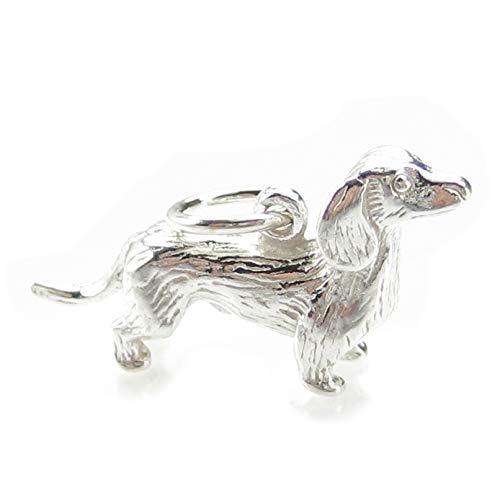 Cane bassotto-Ciondolo in argento sterling 925 con charm x 1 wurstel BJ2059 cani