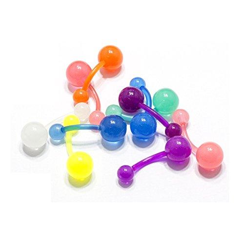 wachsenen Bauch Ring 10 Pack Nabel Körper Piercing Schmuck Glühen in der dunklen Sortiert Farbe Bioflex 14G ()