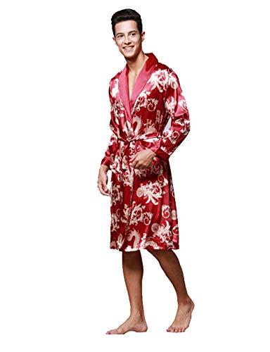 Kugga Mens Soft Silk Robe, 3/4 Länge Bademäntel Bademantel Lounge Wear Nachtwäsche -