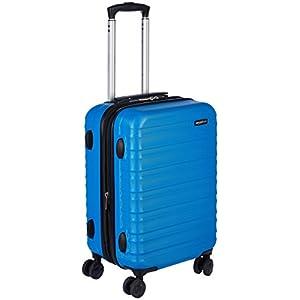 AmazonBasics – Maleta de viaje rígida giratori – 55 cm, Tamaño de cabina, Azul claro