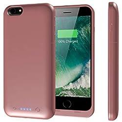 iPhone 6Plus/6s Plus Coque Batterie, Epuirie 6800mAh Extended étui de Chargement Power Bank, Portable, Batterie de Secours Chargeur de Batterie Coque pour iPhone 6Plus/6s Plus 14cm Or Rose