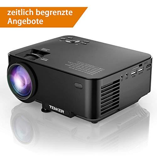 TENKER T20 + (Upgrade) 2000 Lumen LCD Mini Beamer, Portable Heimkino Projektor Unterstützung 1080 P HDMI USB SD Karte AV VGA für TV Laptop Spiel iPhone Andriod Smartphone Enthält HDMI Kabel, Schwarz