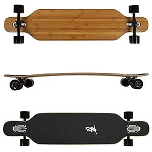FunTomia Longboard aus Bambus und Ahornholz in 3 Flexstufen – Drop Through Komplettboard mit Mach1 High Speed Kugellager…