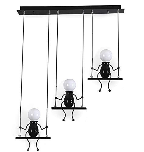 Moderne Charmant Suspension Créatif fer Gens Dessin animé Conception Lampe suspendue Élégant Suspension pour Des gamins Enfants Chambre Chevet Salon Balcon Mignonne Lustre (Noir, 3 Lustre)