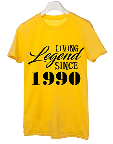 Tshirt Living legend since 1990 - idea regalo compleanno - happy birthday - Tutte le taglie by tshirteria Giallo