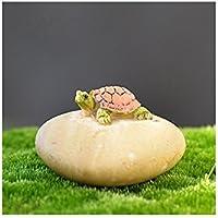 JwlqAy Exterior Interior Mini Tortuga de Resina y Casa en Miniatura de Piedra Jardín de Hadas Micro Paisaje Decoración de Jardín de Casa Macetas Bonsai Craft Decor (Colorido)