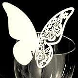 Istloho 50x Papel tarjetas etiquetas decorativas para boda invitaciones agradecimiento regalo detalle de boda cumpleaño comunión fiesta, mariposa