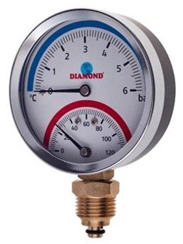 "Thermomanometer 1/2"" Ø80 mm 0-120 °C 0-6 Bar / Radial"