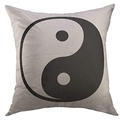 JIILWKIE Pillow Cover Yin Yang Tao Mandala Symbol Round Paisley Vintage Oriental of Harmony Balance Tattoo Yoga Spirituality Home Decorative Square Throw Pillow Cushion Cover 18x18 inch Pillowcase