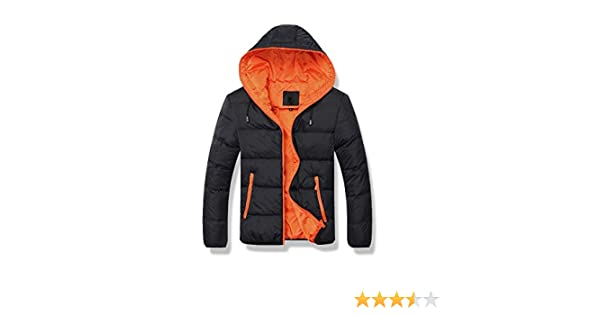 LANBAOSI Herren Winter Daunenjacke geschwollene verdicken Mantel mit Kapuze