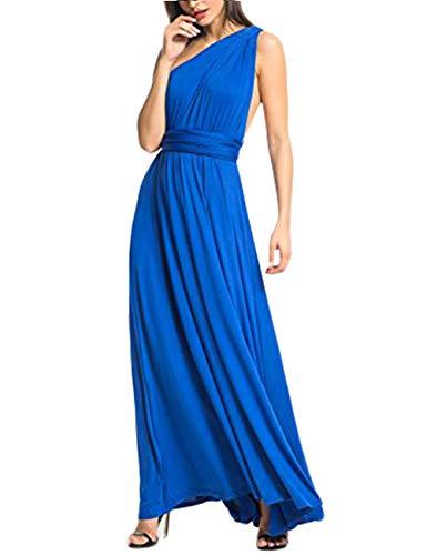 Damen Elegant V-Ausschnitt Ärmellos Lang Abendkleid