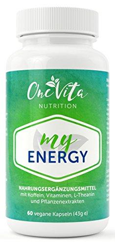My Energy 60 Kapseln | Energie, Konzentration, Leistung und Motivation | Der Energy Booster für mehr Power | Grüner Tee-Extrakt, Guarana, Koffein | Wachmacher gegen Müdigkeit und Erschöpfung