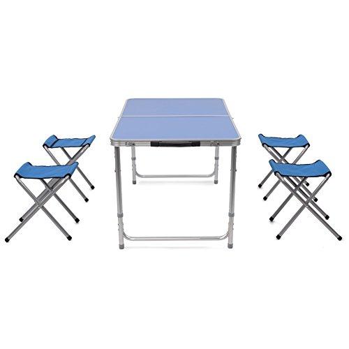 HOMFA Mesa plegable de aluminio portátil para camping terraza jardín Altura Ajustable 120*60*55cm Azul MDF con 4