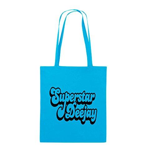 Borse Comedy - Deejay Superstar - Borsa Di Juta - Manico Lungo - 38x42cm - Colore: Nero / Rosa Azzurro / Nero