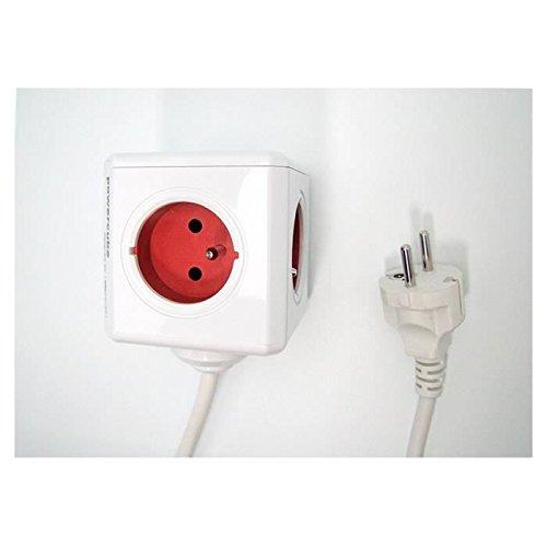 Allocacoc 2304/FREXPC Interior 5AC Outlet(s) 3m Rojo, Color Blanco Base  múltiple - Bases múltiples (Interior, 3 m, 5 Salidas AC, Tipo E (FR), Rojo,