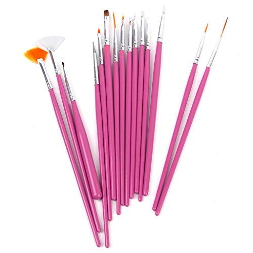 15 PCS kits de brosse Art Peinture & Design des ongles- Rose