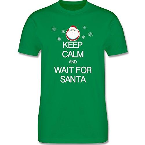 Keep calm - Keep calm and wait for Santa - Herren Premium T-Shirt Grün