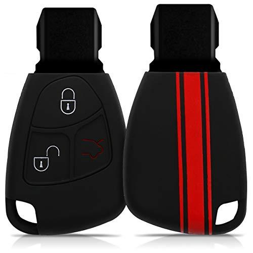 Preisvergleich Produktbild kwmobile Mercedes Benz Autoschlüssel Hülle - Silikon Schutzhülle Schlüsselhülle Cover für Mercedes Benz 2-3-Tasten Autoschlüssel Rot Schwarz