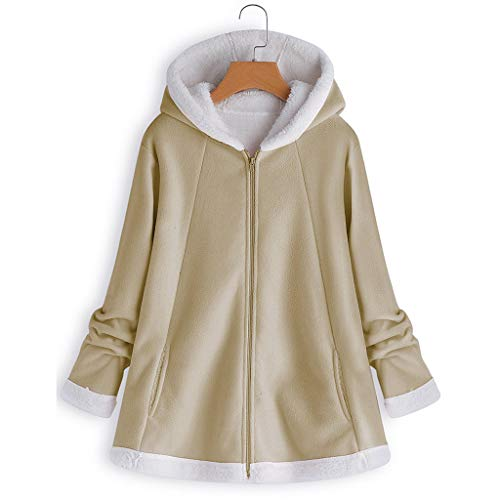 WWricotta Women's Fashion Winter Pocket Zipper Long Sleeve Plush Hoodie Coat(Khaki,5XL) -