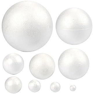 Bolas de poliestireno de poliestireno, 9 unidades, lisas y redondas, ideales para manualidades y manualidades, color blanco, diferentes tamaños