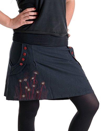 Vishes - Alternative Bekleidung – Bedruckter und bestickter Baumwollrock mit Blumen schwarz 40