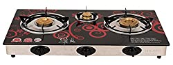 Surya Crystal 3 Burner Gas Stove Red Flower Automatic, Design May Vary as Per Stock Availability