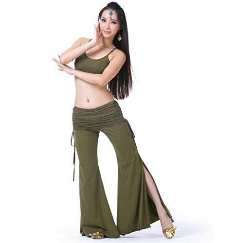 Wgwioo Frauen Bauchtanz Outfit Baumwolle Bilateralen Gürtel Tribal Hose Professionelle Performance Match Praxis Kleidung Set , Army Green , (Army Two Kostüm Of)