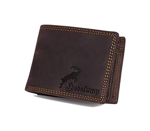 Hodalump - Echt-Leder Geldbörse - für Herren und Damen mit Geschenkbox - Premium Geldbeutel mit RFID-Schutz - Männer Brieftasche - Portemonnaie - Portmonee - Ledergeldbörse - Wallet - Braun -
