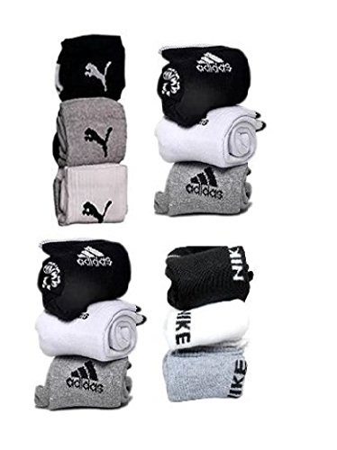 Stylelure branded Combo Offer Of 12 Pairs puma, adidas, nike Logo Sports Ankle Length Socks