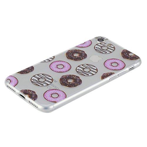 Feeltech iPhone 7 4.7 Custodia,Flessibile Ultra sottile Gel Soft TPU Silicone Case di Gomma Con il Motivo Divertente di Disegno Sveglio Shock-Assorbire Antigraffio Cover Protettiva Pelle Chiara Liber Donuts