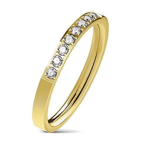 Bungsa 54 (17.2) Goldener Damen-Ring Schmal 8 Kristalle Edelstahl Gold für Frauen - Ringe Freimaurer Diamant