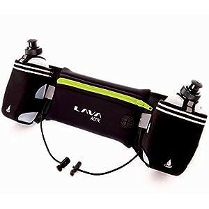 Lava Activ Hydrabelt Trinkgürtel – Laufgürtel, Modell 2017, hochwertig, verstellbar, Flaschenhalter, 2 x 300ml Wasserflaschen, für Marathon, Training, Wandern, geeignet für Smartphones