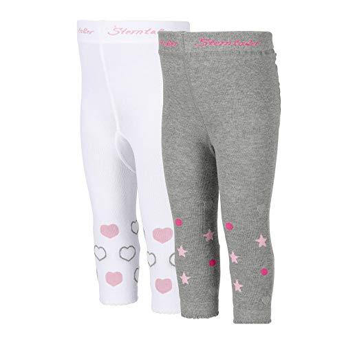 Sterntaler Doppelpack Leggings für Kleinkinder, Herzen-Motiv, Alter: 2-3 Jahre, Größe: 92, Weiß (Herz Leggings Mädchen)