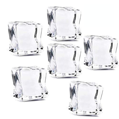 Vosarea 50 unids Cubo Forma Cuadrada Lustre de Cristal Cubos de Hielo de Acr/ílico Artificial Cubos de Hielo de Acr/ílico Cristalino Claro Accesorios de Fotograf/ía Decoraci/ón de la cocina