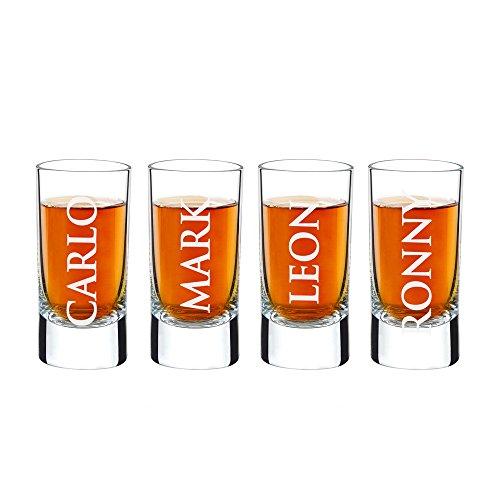AMAVEL - Set 4 Bicchierini da Liquore con Incisione - Personalizzati con [NOMI] - Bicchieri da Shot - Idea Regalo...