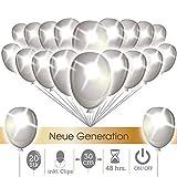LumeeStar 30 cm Premium leuchtende LED Luftballons 20 STK + 1 Gratis-Ballon, verbesserte Technik, 48h Leuchtdauer, inkl. Verschlüsse Party Deko Hochzeit Weihnachten (Pure White inkl. Clips)