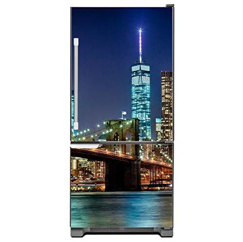floolter New York City Bridge Art Selbstklebende Kühlschrank Aufkleber Kühlschranktür Cover Wallpaper 60x150cm 3D -