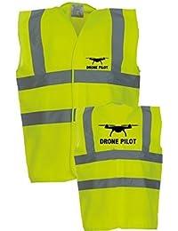 """Drone Pilot Hi Viz Vis Vests Safety Vests Waistecoat (Extra Large - 48/50"""")"""