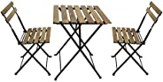 YATAI Wood Chairs and Table Bistro Set - Folding Outdoor Patio Dining Table Set - 3 Pcs Metal Foldable Dining