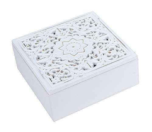 Kiste Holzkiste mit Deckel Holz Kästchen Ornament Holzkasten Shabby Boho weiß (Kleine Kiste (16x16 cm)) (Kleine Geschenk-boxen Mit Deckel)
