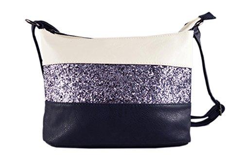 Gallantry -Sac bandoulière / sac porté épaule / sac paillettes femme / Sac Strass (Blanc/Bleu Marine)